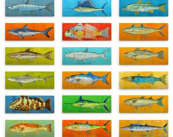 Saltwater Fish Art Block- Gift Fishing Gifts for Men- Dad Gift- Pick the Print- Fish Wall Decor- Gift for- Husband Gifts for Dad