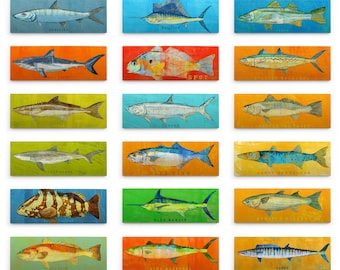Gift Fishing Gifts for Men- Saltwater Fish Art Block- Dad Gift- Pick the Print- Fish Wall Decor- Gift for- Husband Gifts for Dad