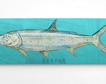 Wife to Husband Gift- Fish Gifts for Him- Tarpon Art Block- Saltwater Fish Art- Beach House Art on Wood- Gifts- for Dad Gifts from Daughter