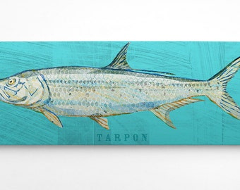 Saltwater Fish Art- Wife to Husband Gift- Fish Gifts for Him- Tarpon Art Block- Beach House Art on Wood- Gifts- for Dad Gifts from Daughter