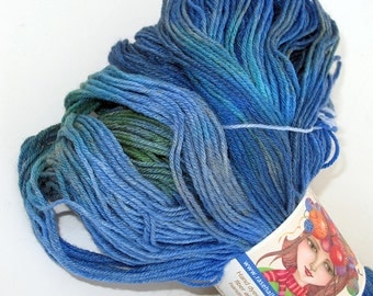 440 yds. Silk & Merino Fingering Weight Hand Dyed Yarn Blues / Olive Green