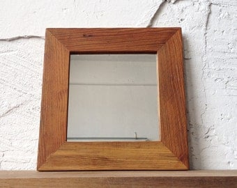 Reclaimed Wood Mirror | Small Square Mirror | Bathroom Mirror | Entryway Foyer Decor | Handcrafted Wooden Framed Mirror | Choice of Colors