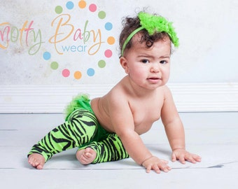 zebra legwarmers, lime green, baby leg warmers, toddler legwarmers, girl leggings, crawler socks, holiday tights, babylegs, baby clothes