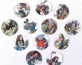 "Alice in Wonderland Stickers Seals Labels Full Color | Vintage Illustrations | Acid Free | Large 2"" | Assorted Embellishments | Tags | 24"