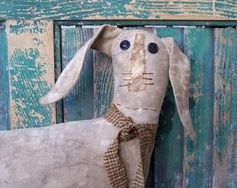 Primitive Rabbit Doll, Rustic Rabbit, Stuffed Rabbit Doll, Farmhouse Rabbit Decor, Handmade Bunny, Brimfield Bunny - READY TO SHIP