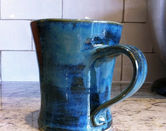 Pottery Coffee Mug in Midnight Sea Blue, Ceramic handled drinking mug