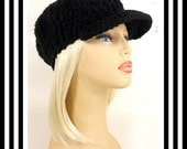 Black Crochet Hat Womens Hat, Crochet Newsboy Hat, Black Hat, Winter Hat, CONDUCTRESS, Newsboy Hat Womens