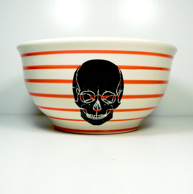 large bowl featuring a detailed Skull silhouette print on Red-Orange pinstripes, Ready to Ship.