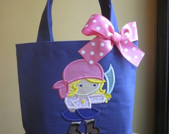 TOTE BAG Izzy Girl Pirate Personalized Toddler or Big Kid Tote