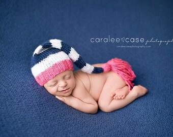 Marina - Tassel Stocking Hat - pink white navy nautical stripes girl newborn baby elf cap