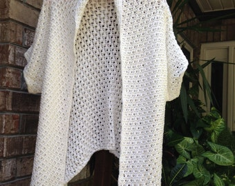 White Hand Knitted Sweater Cardigan original design, loose knit sweater, women's clothing