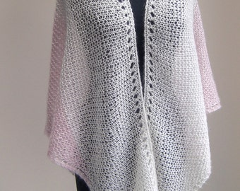 Hand Knit Mohair Silk Shawl Scarf Wrap, Lace, Pale Pink White, Bridal Wedding, Prayer Meditation Comfort, Ready to Ship, FREE SHIPPING