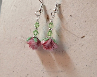 Pink Flower Glass Earrings with Swarovski Peridot Accents on Silver