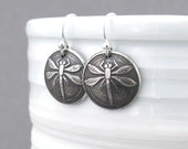 Dragonfly Earrings Tiny Silver Earrings Silver Dangle Earrings Bug Jewelry Insect Jewelry Dragonfly Jewelry Handmade Jewelry Gift for Her