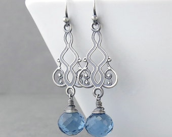 Blue Gemstone Earrings Sterling Silver Earrings Blue Drop Earrings Long Dangle Earrings Handmade Jewelry Bohemian Jewelry Moroccan Dreams