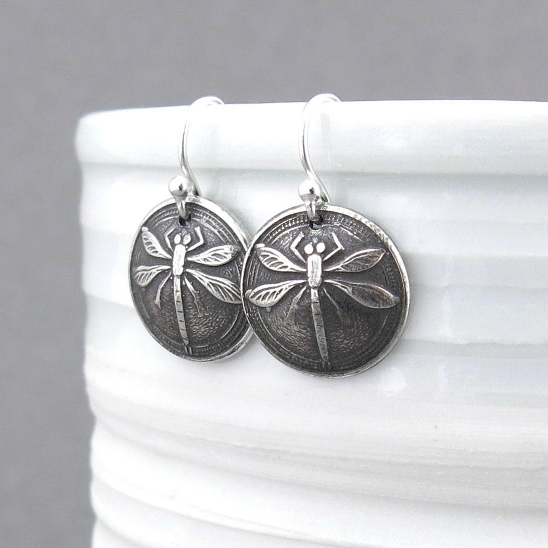 Dragonfly Earrings Tiny Silver Earrings Silver Dangle Earrings
