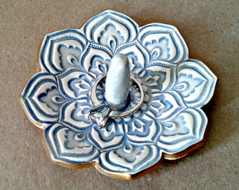 Ceramic Lotus Ring Holder Hint of Blue with gold edging