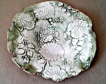 Ceramic  Damask Trinket Dish edged in gold Moss green