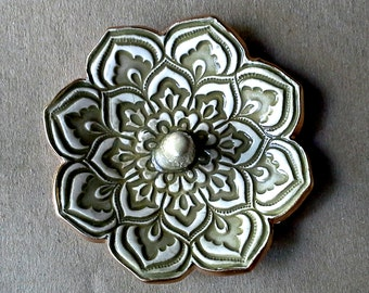 Ceramic Lotus Ring Holder Bowl  Sage Olive Green gold edged