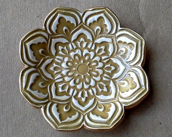 Ceramic Lotus Ring Dish  3 1/4 inches round Dijon yellow edged in gold