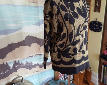 Vintage Black and Gold Floral Sweater XL