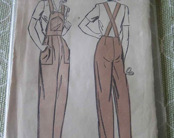 Vintage 1940s Advance 3249 Rosie The Riveter OVERALLS Sewing Pattern FF UNCUT sz 14 B32