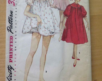 Vintage 50s Simplicity 1102 Misses Shortie Babydoll Nightgown Sewing Pattern size 12 B 30