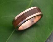 Rose Gold Lados Guayacán Wood Ring - ecofriendly wood wedding band, 14k recycled rose gold and wood wedding ring, mens red gold wood ring