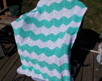 Chevron Ripple Afghan-Mint and White-Large size-Ready to ship-Chasing Chevrons-Blanket-Gift-Housewarming-Baby
