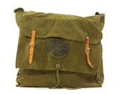 50s Yucca Pack / Vintage 1950s Army Green Cotton Canvas Backpack / Large Boy Scouts Hiking Sack / Overnight Bag / Weekender Travel Bag