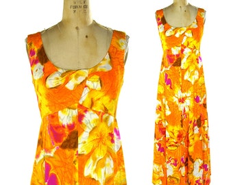 60s Hawaiian Maxi Dress / Vintage 1960s Floral Hostess Dress / Paradise Hawaii Sundress / Hippie Boho Bohemian Tropical Floral Cocktail Gown