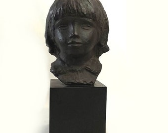 """1958 Alva Museum Replica Bust, After Pierre Auguste Renoir """"Head of Coco"""", Alva Studios Cast Bust"""