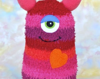 Handmade Sock Monster Doll, Plush Stuffed Art Toy, Hug Me Monster, Personalized Tag, Magenta, Coral, Fuchsia, Orange, 10 inch, Ready-made