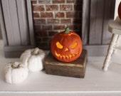 Dolls House Miniature Pumpkin Jack O Lantern light with battery LED