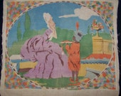 Charming Vintage Marie Antoinette Style & Boy With Turban Silk Screen Pillow Top Linen Art Deco