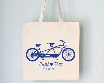 Custom Tote - Tandem -  bicycle artwork with names date and heart on natural bag