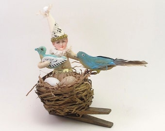 Vintage Inspired Spun Cotton Girl In A Bluebird Nest Ornament OOAK