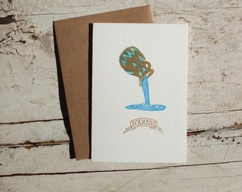 Aquarius zodiac letterpress linocut card