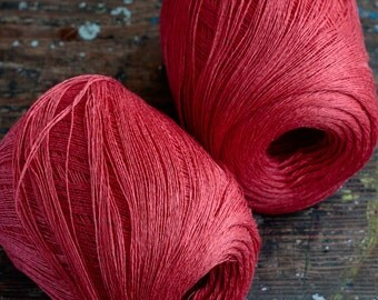 Linen yarn thread -- one ball -- red -- 2-ply