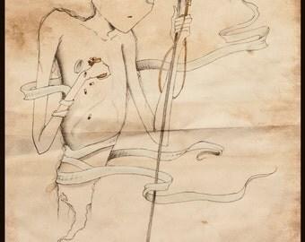 Hand-embellished Medical Art Print
