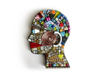 Know Thyself. (Head Profile Mixed Media Mosaic Art Assemblage Wall Decor by Shawn DuBois)