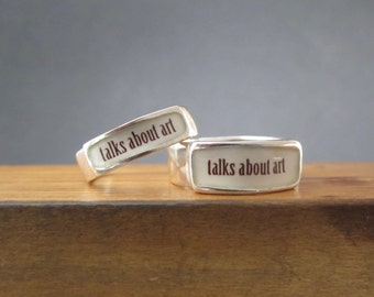 Talks About Art Band Ring - Sterling Silver and Vitreous Enamel Art Lover Ring - Ring for Artists