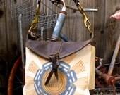 Troyer Blue Ribbon Seeds - Indiana - Small Leather Messenger - Americana Canvas Leather Handbag- vintage fabric... Selina Vaughan Studios