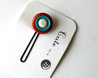 Cute as a Button--Red and Turquoise Blue Vintage Button Hair Pin