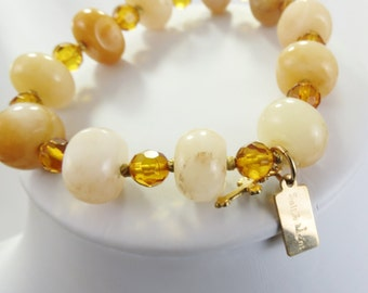 Amber and Golden Yellow Peach Quartz Stone Stretch Bracelet - Chrsitian Jewelry - Gold Filled - Oil Collection