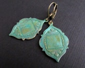 Medallion Earrings...Verdigris Brass earrings, Scalloped Edge, Patina Earrings