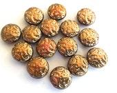 Brocade beads (6+) bronze glass copper metallic button  Czech AB aurora borealis disc round pressed Paisley 14mm (6+)