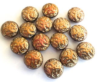 Brocade beads (6+) bronze glass copper metallic button  Czech AB aurora borealis disc round pressed Paisley 14mm (6+)