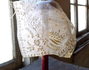 Circa 1850s Embroidered Baby Cap