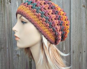 Multi Color Crochet Hat Womens Hat - Criss Cross Slouchy Hat Orange Blue Purple Crochet Hat - Orange Beanie Orange Hat - READY TO SHIP